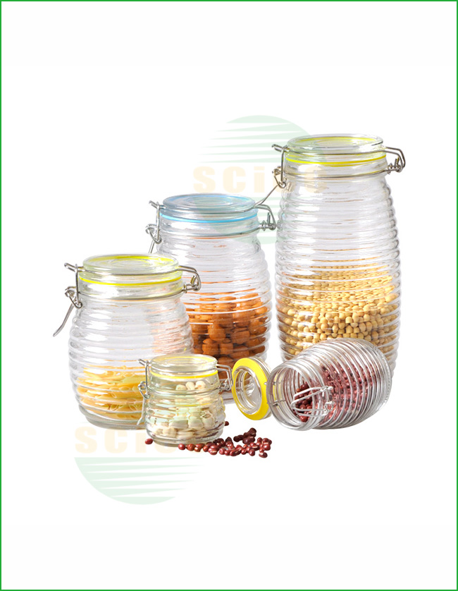 GLASS JAR WITH CLIP SET OF 5 (01-0083)