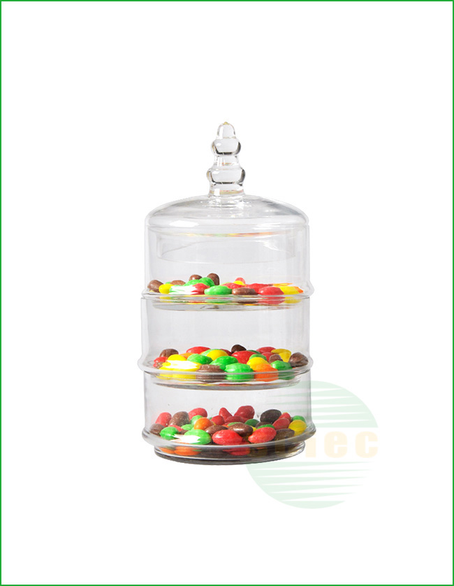 GLASS CANDY JAR SET OF 3 (10-0008)