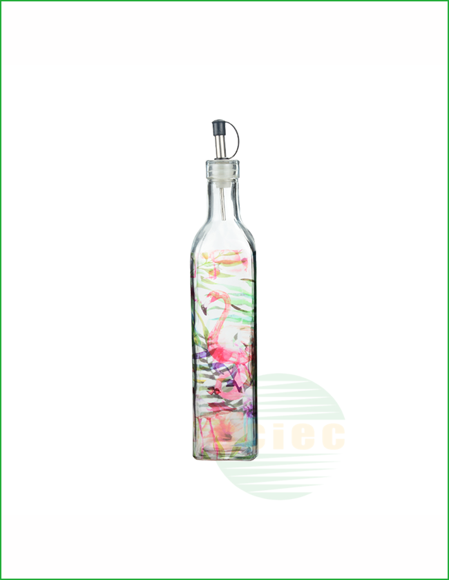 GLASS OIL&VINEGAR BOTTLE WITH DECAL PAPER (15-0001)