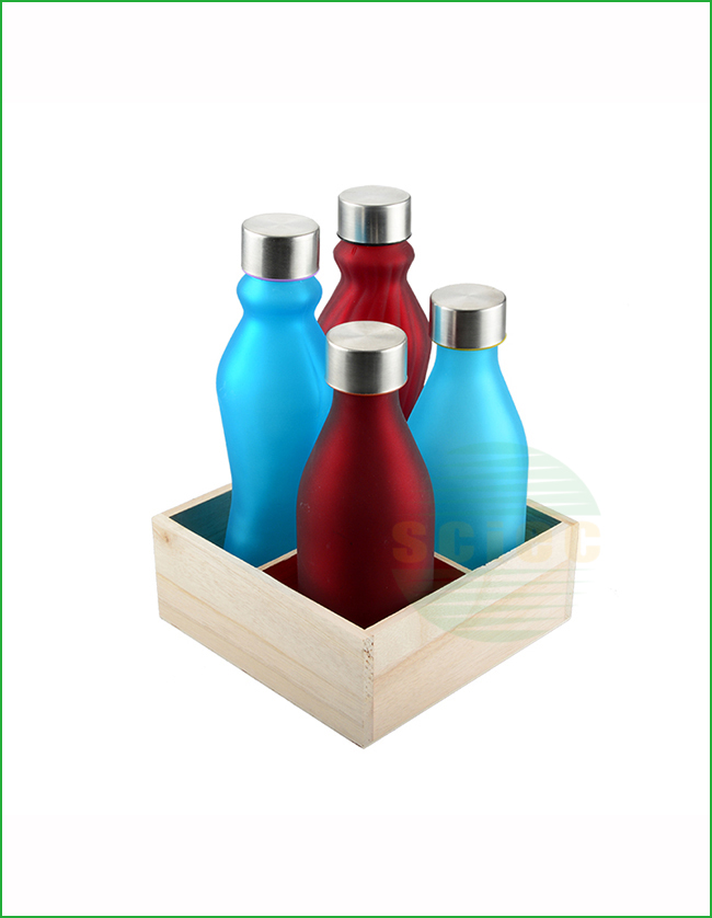 THIN WAIST GLASS MILK BOTTLE WITH METAL LID (16-0102)