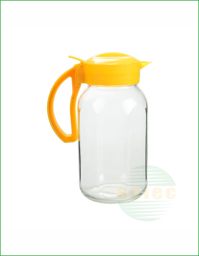 GLASS PITCHER WITH PLASTIC LID AND HANDLE (13-0009)