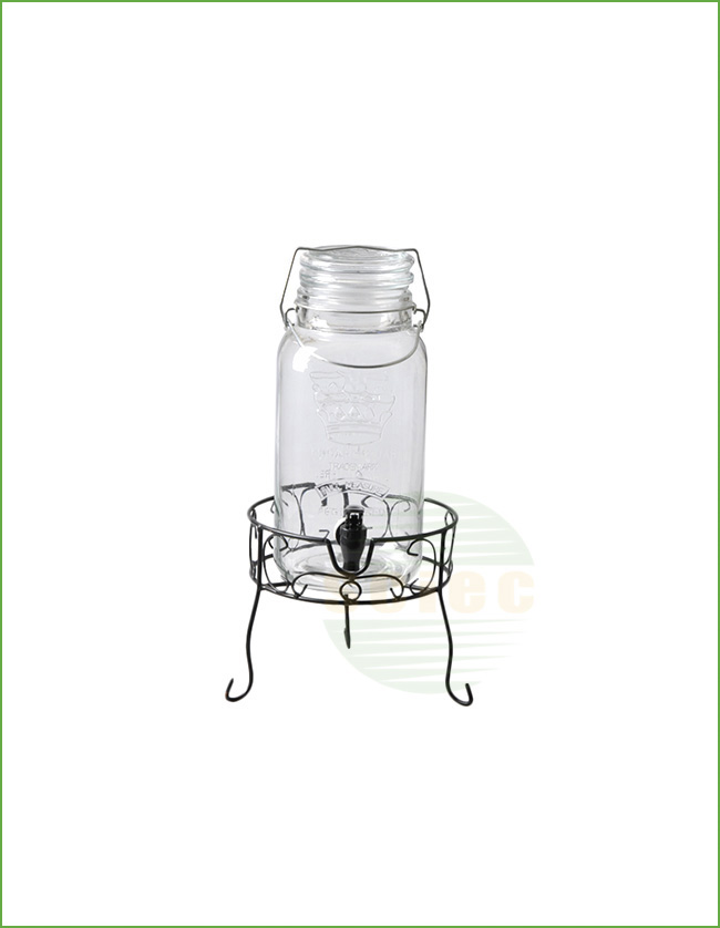 GLASS BEVERAGE DISPENSER WITH TAP AND METAL STAND (10-0104)