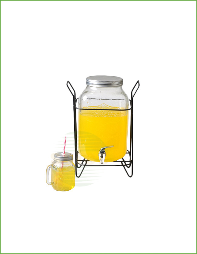 GLASS BEVERAGE DISPENSER WITH TAP AND STAND (02-0143)