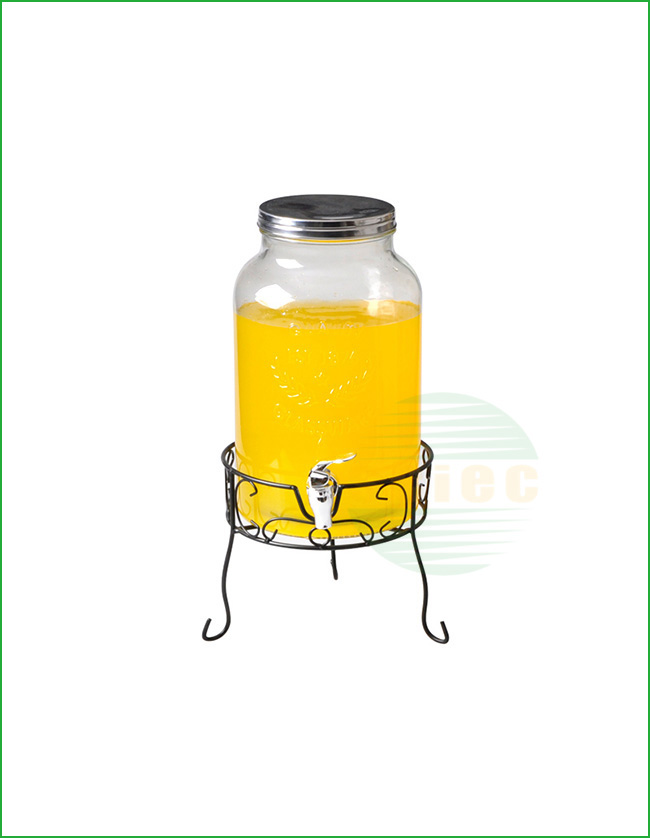 GLASS BEVERAGE DISPENSER WITH METAL LID AND TAP (02-0227)