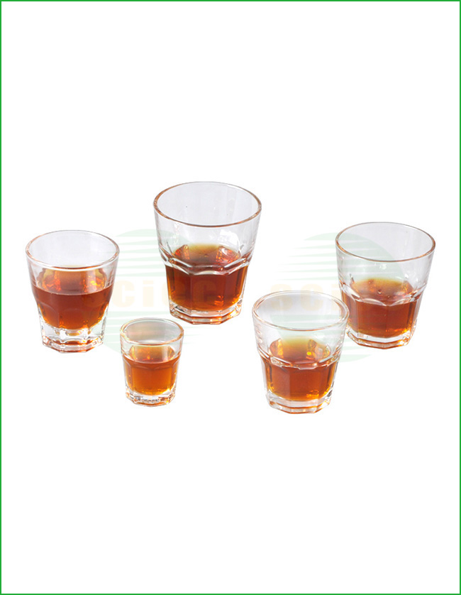 PRESSED GLASS CUP SET OF 5 (28-0177)