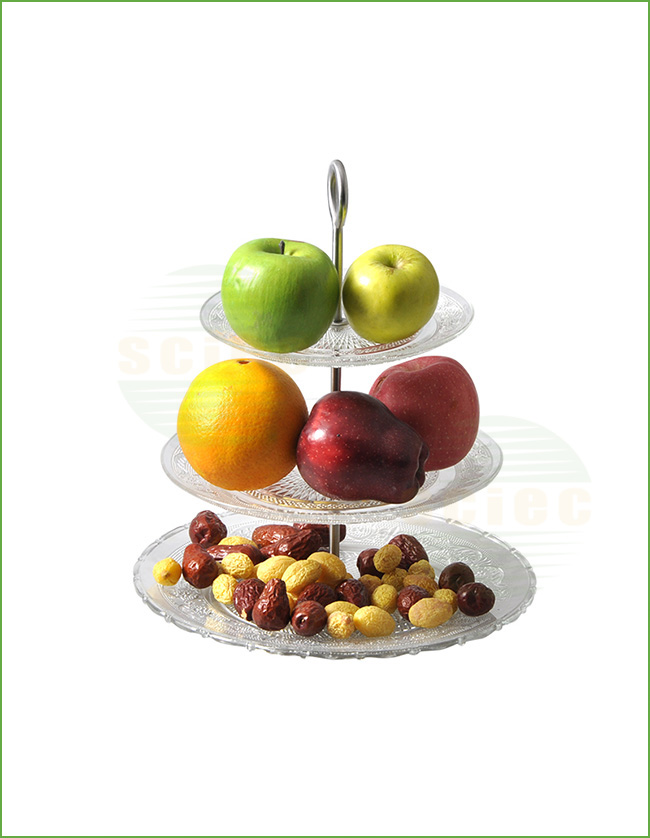 GLASS FRUIT PLATE SET OF 3 WITH METAL STAND (66-0201)